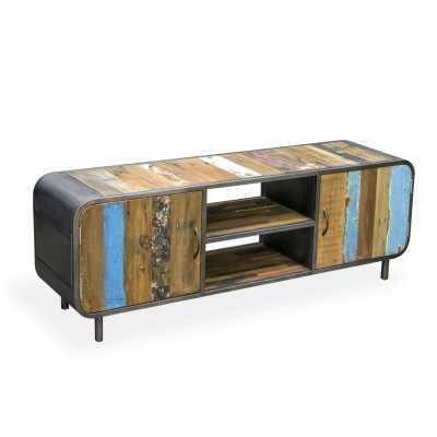 New London Retro Media TV Unit with doors
