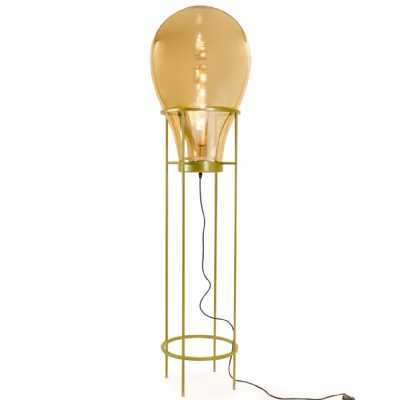 Art Deco Large Gold Glass Edison Floor Lamp Gold Stand LED Bulb Included