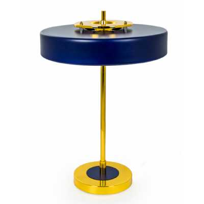 LED Blue Round Table Lamp with Modern Gold Stand Bulbs Included