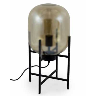 Large Gold Glass Edison Lamp On Black Table Stand