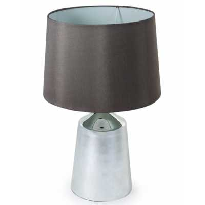 Modern Silvered Glass Table Lamp With Round Taupe Shade