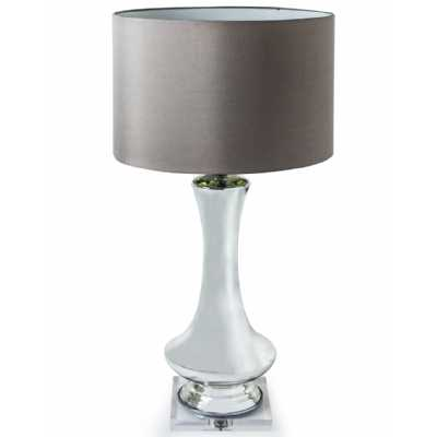 Tall Silvered Glass Bud Vase Style Table Lamp with Round Taupe Shade