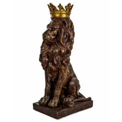 Large Rustic Bronze Effect Lion Figure with Gold Crown