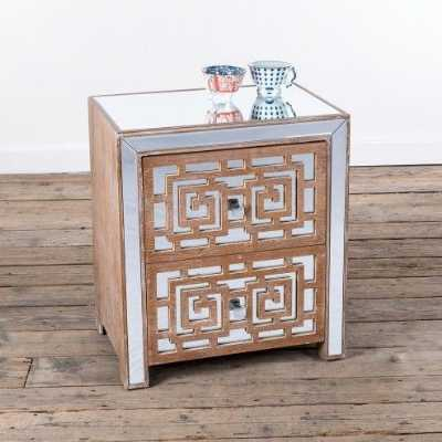 Labyrinth Wooden Two Drawer Bedside with Mirrored Bevelled Top