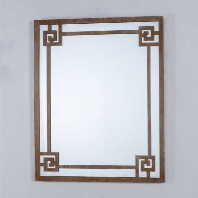 Decorative Labyrinth Wall Mirror with Geometric Wooden Design