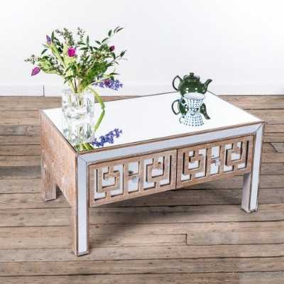 Labyrinth Mirrored Bevelled Top Wooden Coffee Table with 2 Drawers