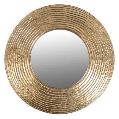 Large Contemporary Gold Rippled Circle Wall Mirror