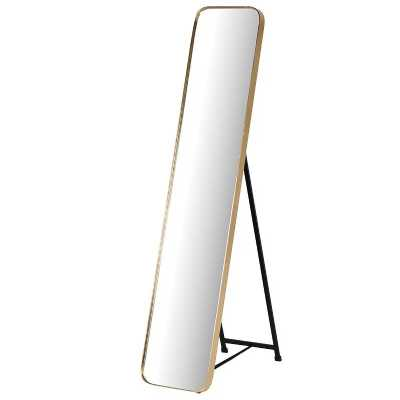 Gold Framed Modern Slim and Tall Free Standing Cheval Floor Mirror