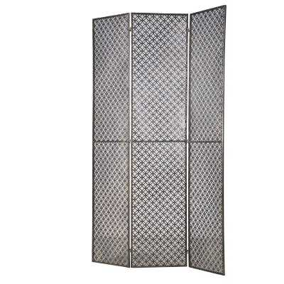 Patterned Wrought Iron 3 Piece Room Divider Screen