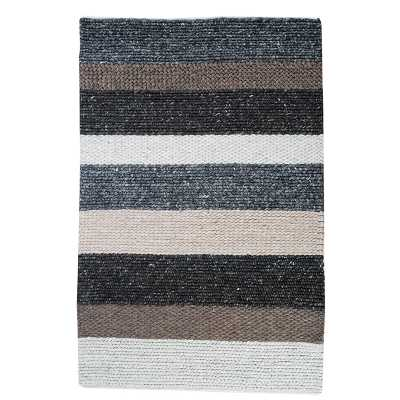 Hand Woven Artisan Rug Multi Coloured Striped Rustic Floor Covering