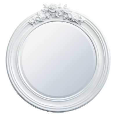 Antique Style Round Bevelled White Floral Decorative Wall Mirror
