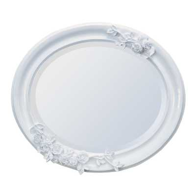 Shiny White Oval Mirror