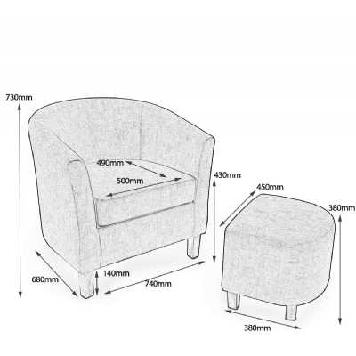 Linen Effect Cinnamon Tub Chair Set