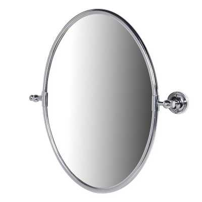 Contemporary Chrome Oval Framed Simple Wall Mirror