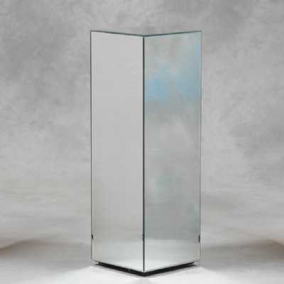 Clear Square 90cm Mirrored Glass Decorative Display Pedestal Stand