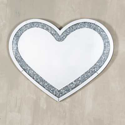 Mirrored Vintage Venezia Venetian crushed Diamond Heart Mirror