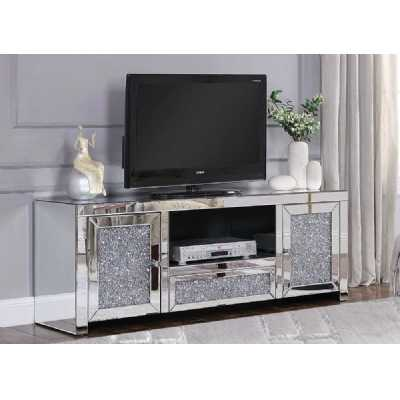 Modern Venetian Inspired Crushed Diamond Bevelled Mirrored 2 Door Media Unit 44 x 120cm