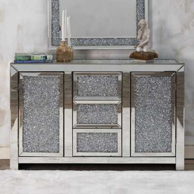 Venetian Crushed Diamond Mirrored Sideboard Extra Packing