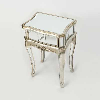 Annabelle French Silver Gilt Leaf Mirrored Single Drawer Bedside Table