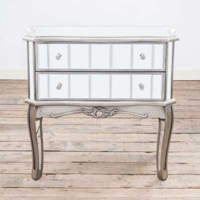Annabelle French Vintage Distressed Silver Mirrored Chest of 2 Drawers