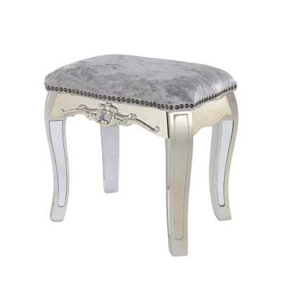 Annabelle French Silver Gilt Leaf Mirrored Dressing Table Stool