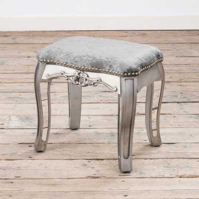 Annabelle French Vintage Distressed Shabby Chic Silver Paint Mirrored Dressing Table Stool