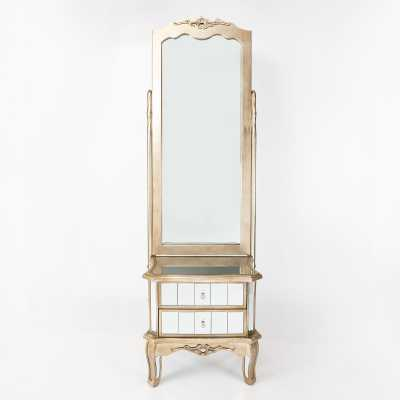 Annabelle French Bevelled Cheval Mirror 2 Drawers with Silver Gilt
