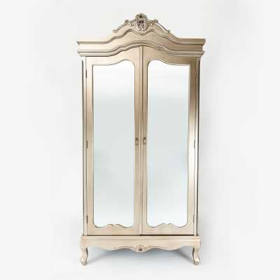 Annabelle French Vintage New Annabelle French Silver Paint Leaf Vintage Shabby Chic Distressed Mirrored Double Wardrobe