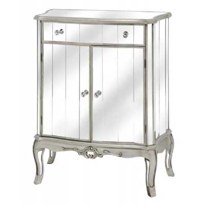 Annabelle French Silver Gilt Leaf Mirrored Cabinet Cupboard and Drawer