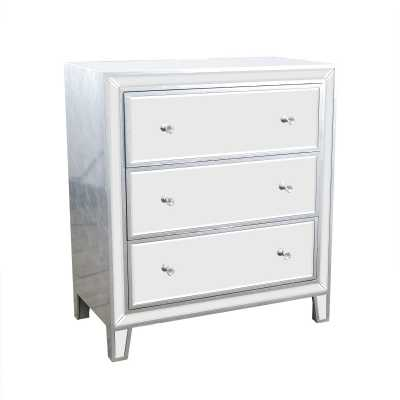 Contemporary Style Argenti New Silver Leaf Mirrors Chest Of 3 Drawers