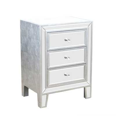 Argenti New Silver Leaf Mirrored Bedside Table 3 Drawer