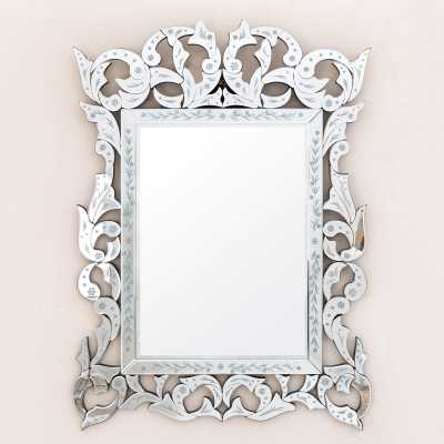 Venetian Contemporary Rectangular Mirror With Floral Patterning
