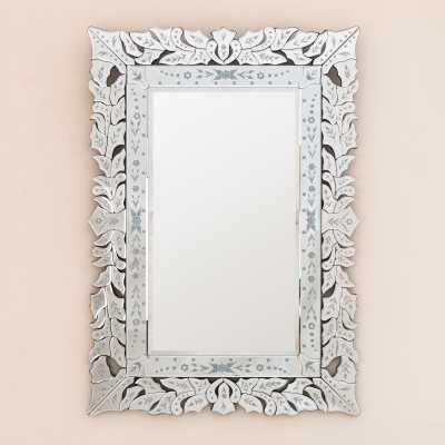 Venetian Modern Rectangular Mirror With Floral Mirrored Frame