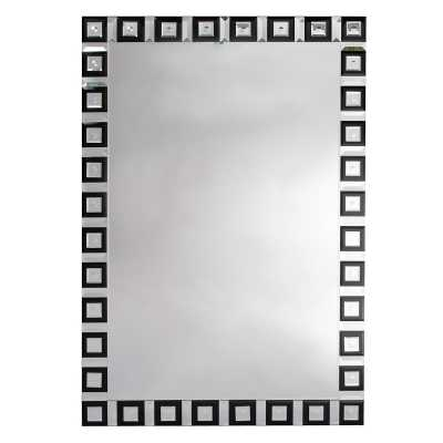 Contemporary Venetain Geometric Black And Clear Wall Mirror