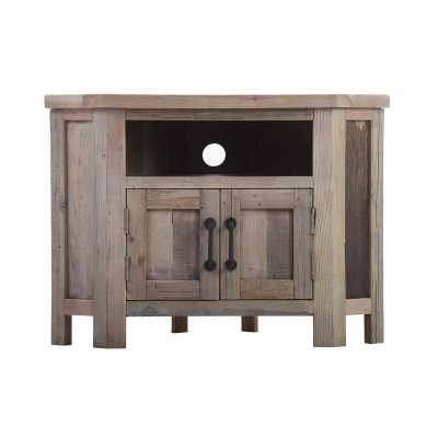 Cal Stadium Reclaimed Wood 90 Degree Corner TV Unit With 2 Doors And 2 Shelves
