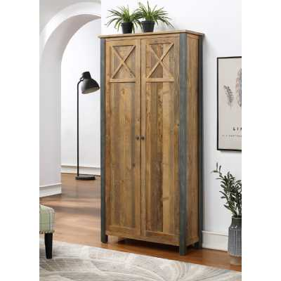 Urban Elegance Reclaimed Wood Living Room Tall and Large Storage Cabinet Cupboard 192x92x37cm
