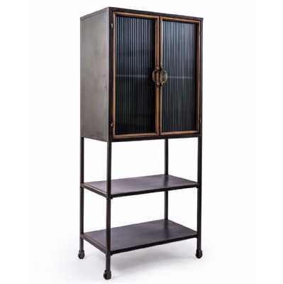 Black And Antique Gold 'Orwell' Tall Cabinet With Shelves