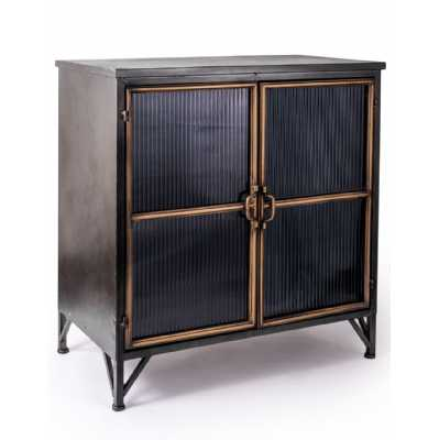 Black And Antique Gold 'Orwell' Wide Cabinet