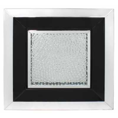 Glass Gems Floating Crystal Black Large Square Mirror Wall Art