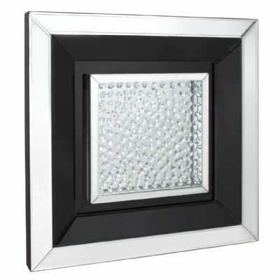 Glass Gems Floating Crystal Black Small Square Mirror Wall Art