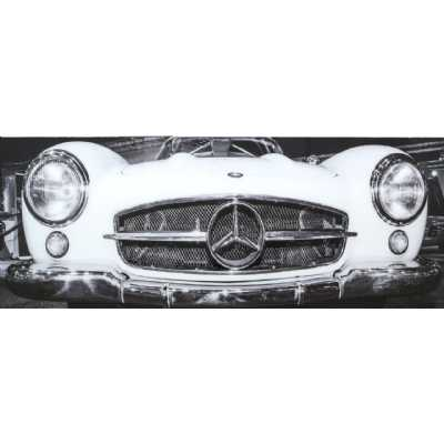 Black And White Mercedes Benz Tempered Glass Art Print