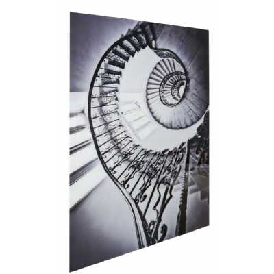 Black And White Spiral Staircase Tempered Glass Art Print