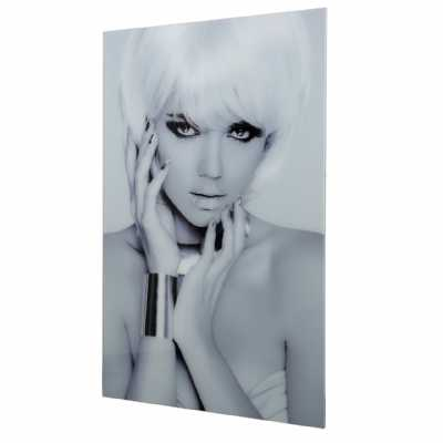 Black And White Glamour Model Tempered Glass Wall Art