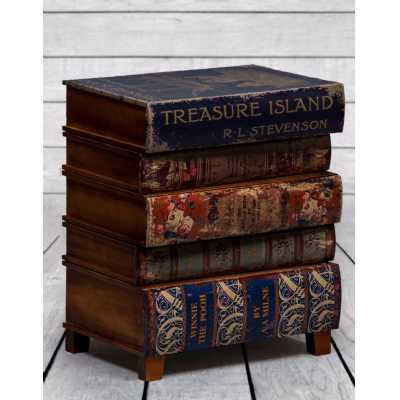 Treasure Island Antique Stacked Childrens Books Bedside Cabinet Vintage Style with 5 Drawers