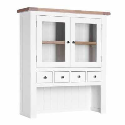 Medium Chalked Oak And Pure White Painted 4 Drawer 2 Door Hutch