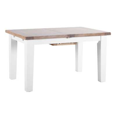 9fb1dd421526 Medium Chalked Oak and Pure White Painted Extendable Dining Table