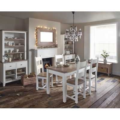 Rectangular Modern Oak Dining Table with 4 Chairs White Chalk Painted Dining Set