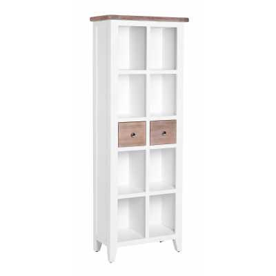 Tall Narrow Slim Chalked Oak Painted White 2 Drawer Bookcase 8 Section