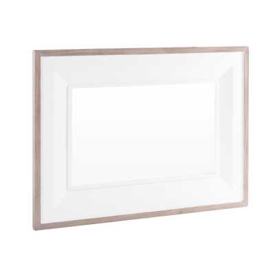 Large Chalked Oak and Pure White Painted Rectangular Wall Mirror