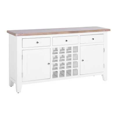 Large Sideboard Chalked Oak White Painted 3 Drawer Centre Wine Rack